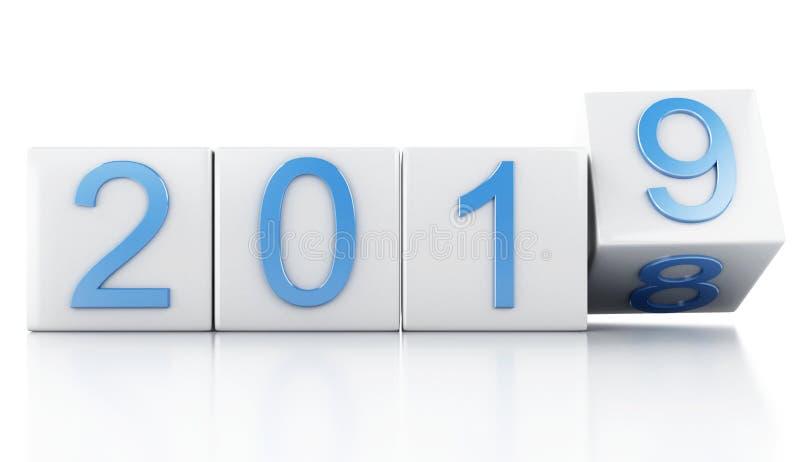 3d Nieuwjaar 2019 stock illustratie