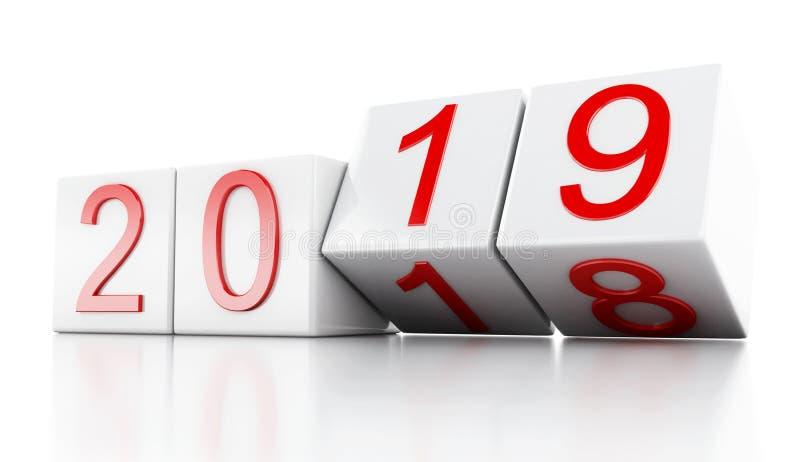 3d Nieuwjaar 2019 royalty-vrije illustratie