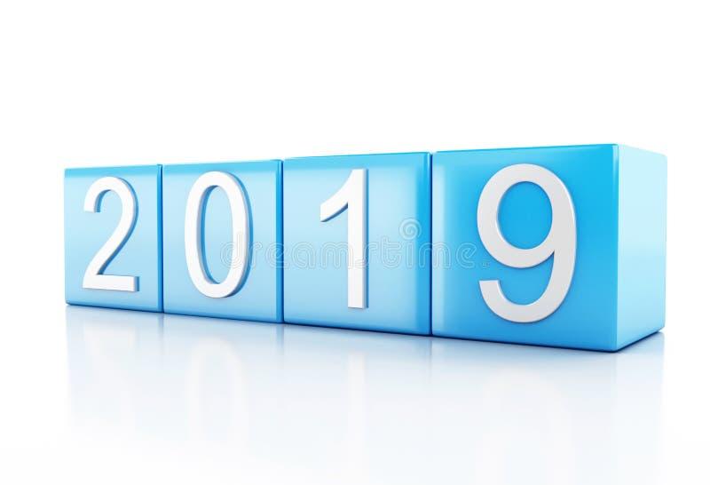3d Nieuwjaar 2019 vector illustratie