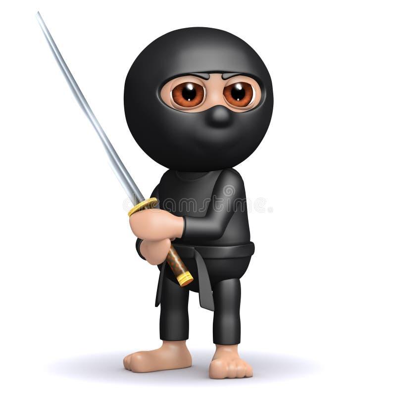 3d Ninja bereit stock abbildung