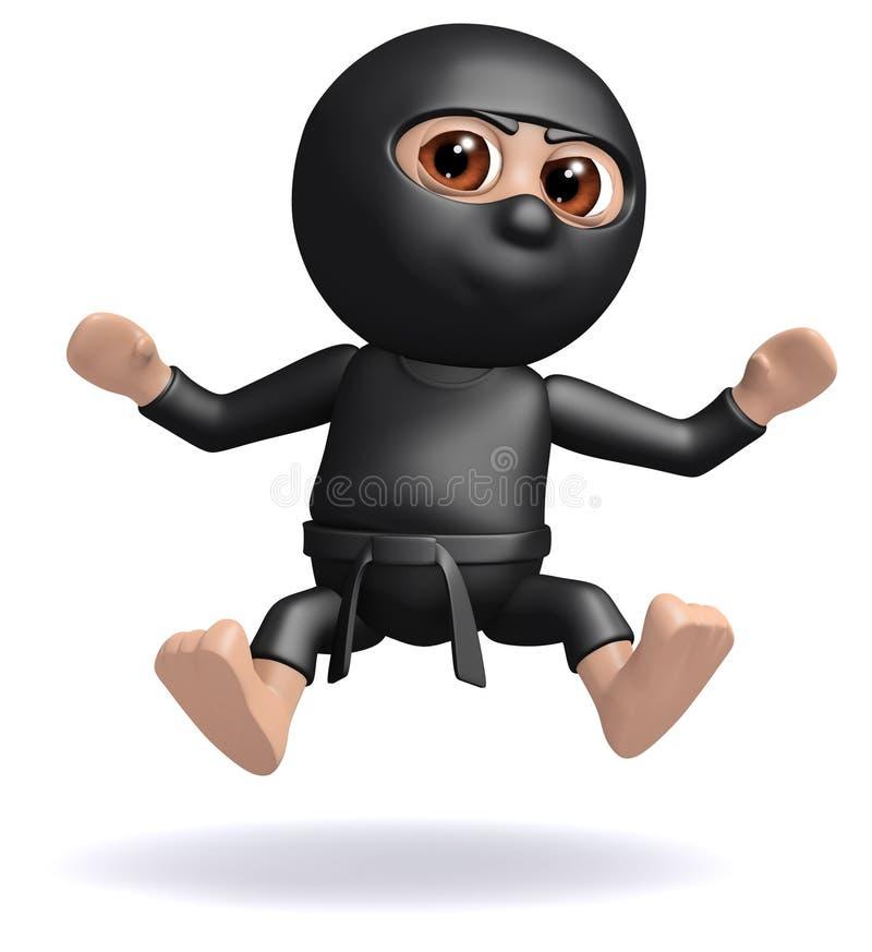 3d Ninja Has Been Hit Stock Illustration