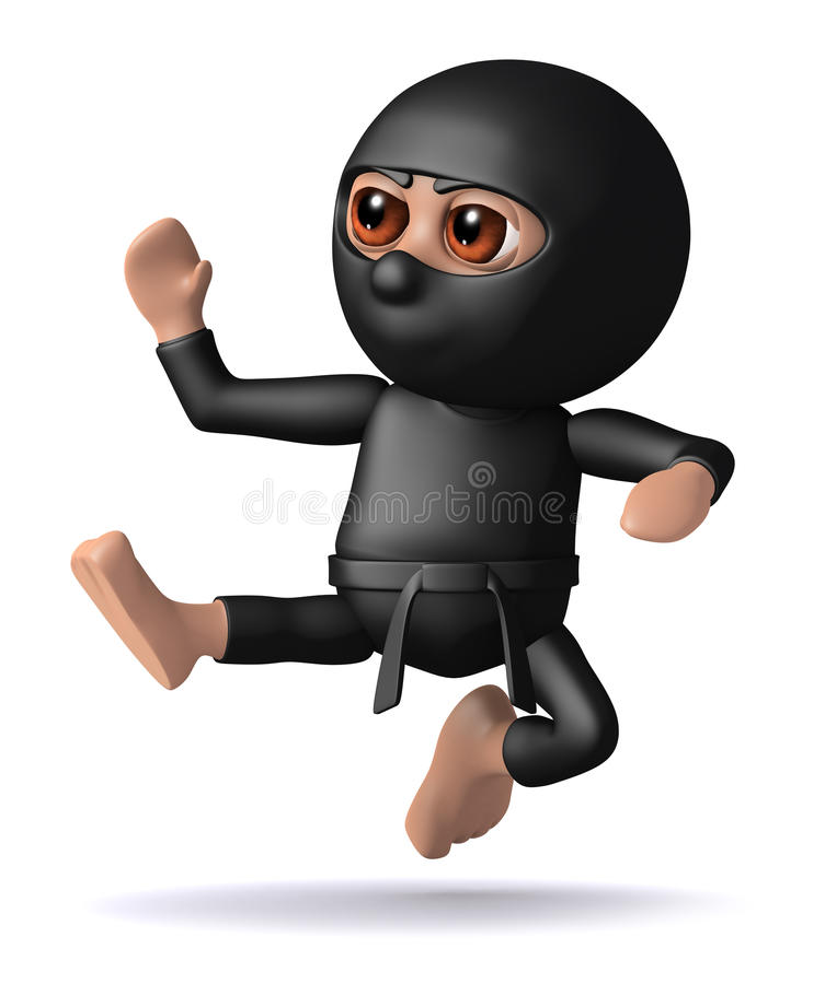 Download 3d Ninja kick stock illustration. Image of ninja, character - 38790028