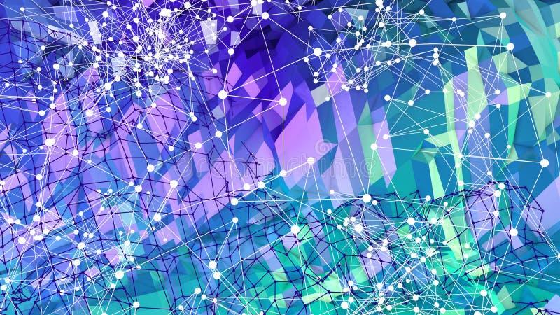 3d niski poli- abstrakcjonistyczny geometryczny tło z nowożytnymi gradientowymi kolorami 3d błękitnej zieleni nawierzchniowy grad ilustracja wektor