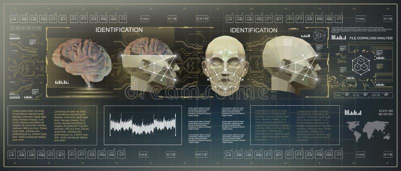3D Niski Poli- móżdżkowy skanerowanie, HUD dotyka medyczny wirtualny graficzny interfejs użytkownika, móżdżkowego skanerowania śc royalty ilustracja