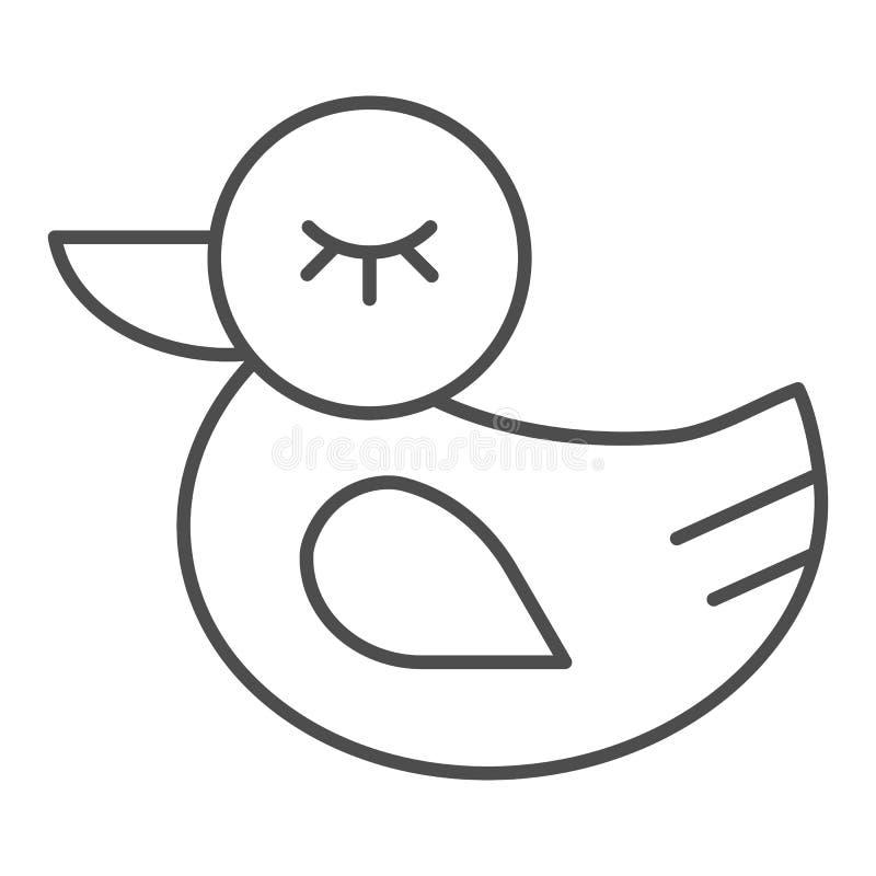 D?nne Linie Ikone der Gummiente Spielzeugvektorillustration lokalisiert auf Wei? Badspielzeugentwurfs-Artentwurf, bestimmt für Ne vektor abbildung
