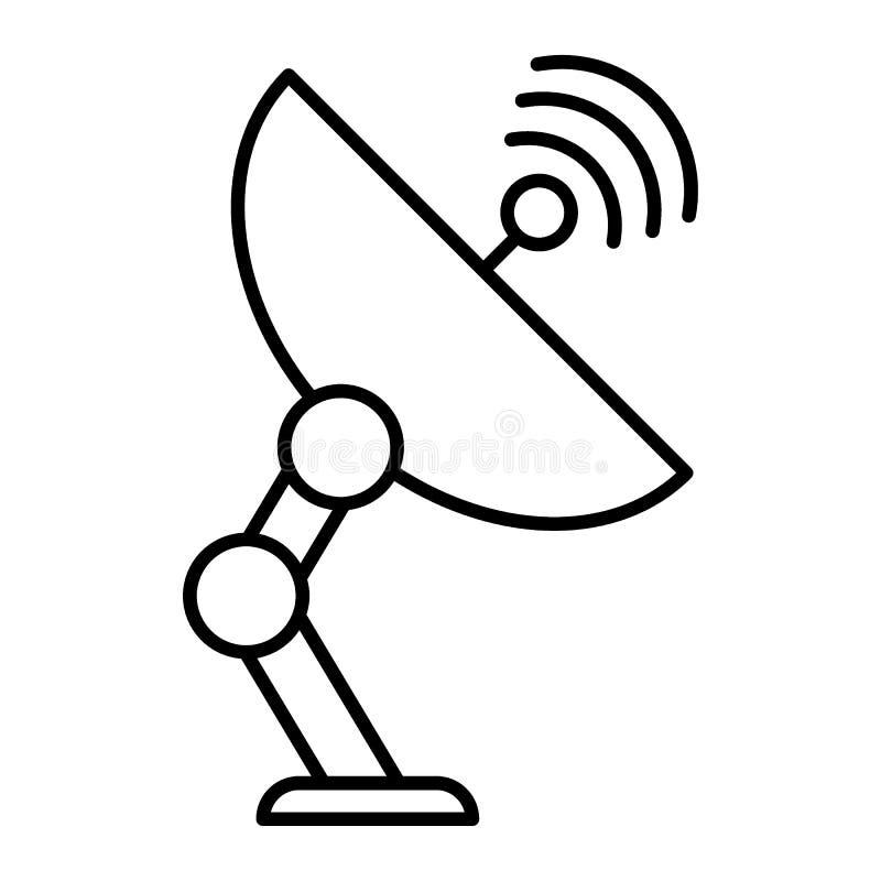 D?nne Linie Ikone der Satellitenantenne Kommunikationsillustration lokalisiert auf Wei? Parabolantenneentwurfs-Artentwurf vektor abbildung