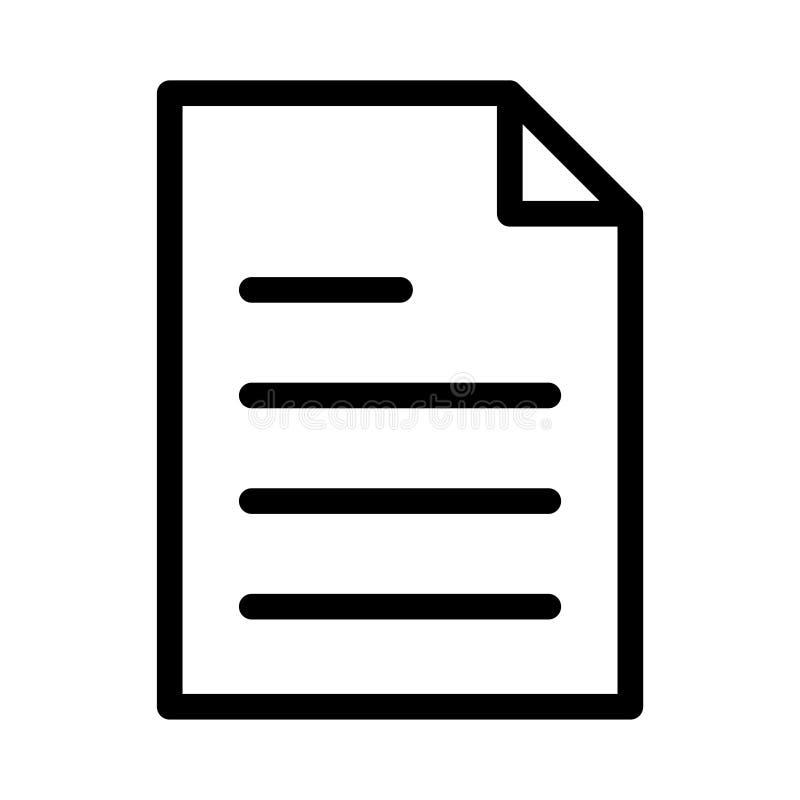 D?nne Linie Ikone des Dokuments stock abbildung