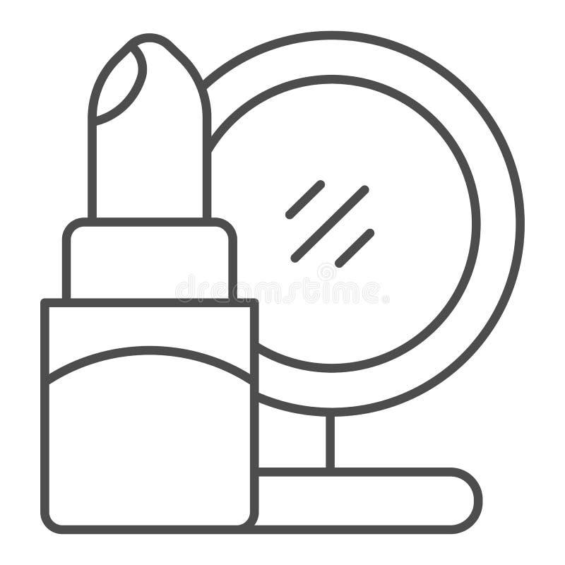 D?nne Linie Ikone des Lippenstifts und des Spiegels Kosmetikvektorillustration lokalisiert auf Wei? Make-upentwurfs-Artentwurf lizenzfreie abbildung
