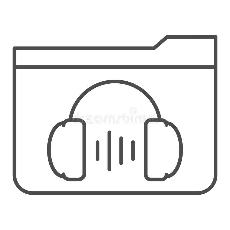 D?nne Linie Ikone des Musikordners r Ordner mit Kopfh?rerentwurfs-Artentwurf stock abbildung