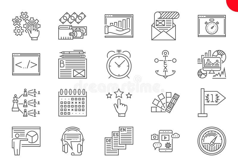 D?nne Linie Ikonen eingestellt von der Suchmaschinen-Optimierung lizenzfreie abbildung