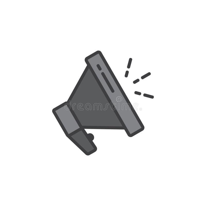 D?nne Linie Symbolvektor des Megaphonsprechers lizenzfreie abbildung