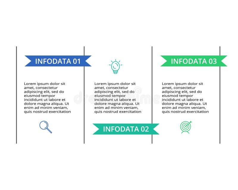 D?nnes Linienelement f?r infographic Schablone f?r Diagramm, Diagramm, Darstellung und Diagramm Konzept mit 3 Wahlen lizenzfreie abbildung
