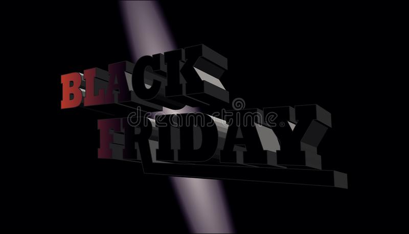 3D noir vendredi sur le fond noir illustration de vecteur