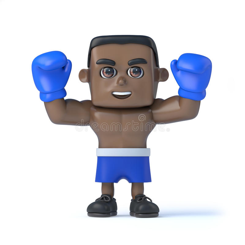 3d noircissent des prises de boxeur ses poings dans la victoire illustration de vecteur
