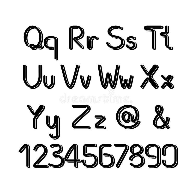 3D noircissent l'alphabet de police - capital simple et minuscules illustration stock