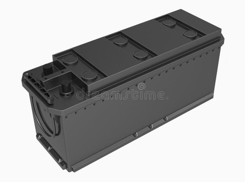 3D noircissent la batterie de camion avec la couverture noire et les terminaux noirs sur W images libres de droits
