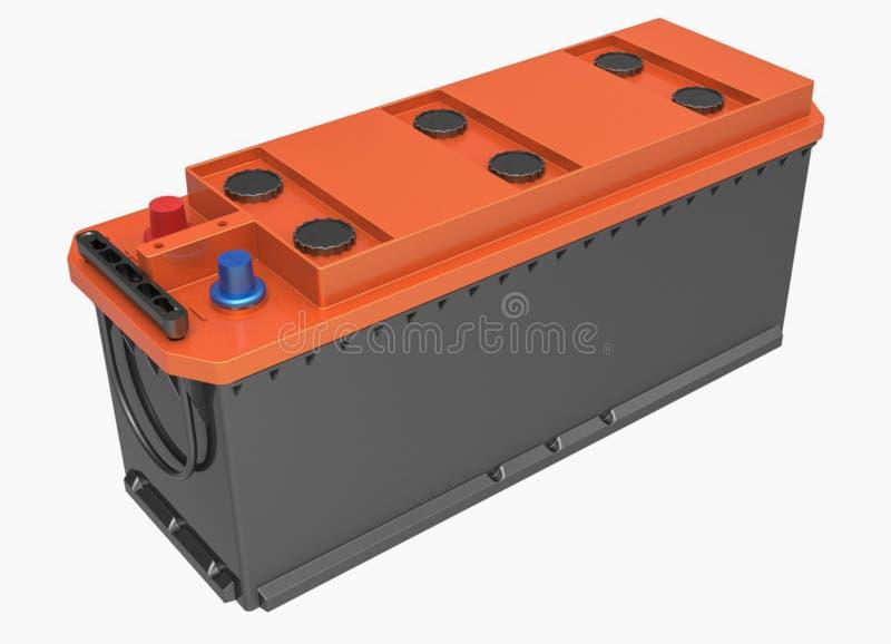 3D noircissent la batterie de camion avec la couverture orange et le termin rouge et bleu photographie stock libre de droits