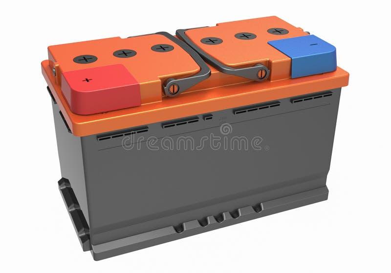 3D noircissent la batterie de camion avec les poignées noires, la couverture orange et le rouge photos libres de droits