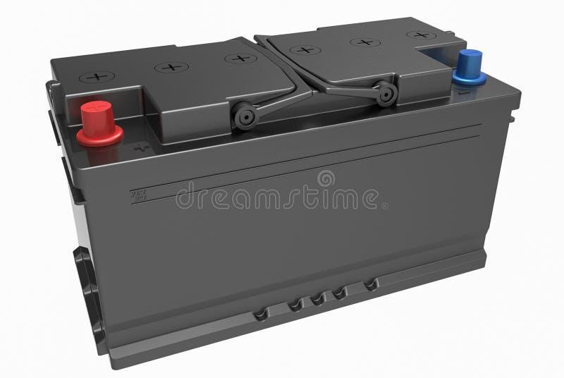 3D noircissent la batterie de camion avec les poignées noires et le termi rouge et bleu photo stock