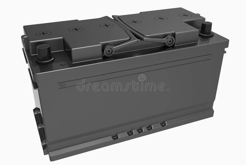 3D noircissent la batterie de camion avec les poignées noires et les terminaux noirs dessus photo libre de droits