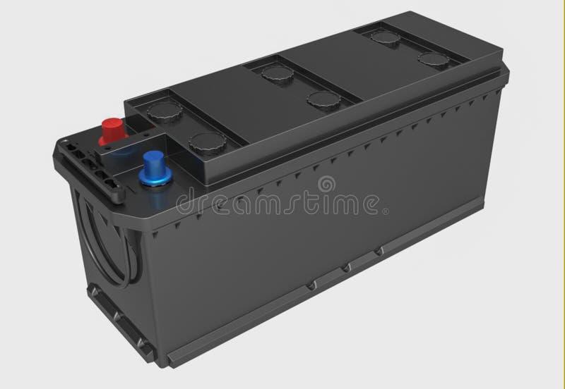 3D noircissent la batterie de camion avec les terminaux rouges et bleus sur le blanc image libre de droits
