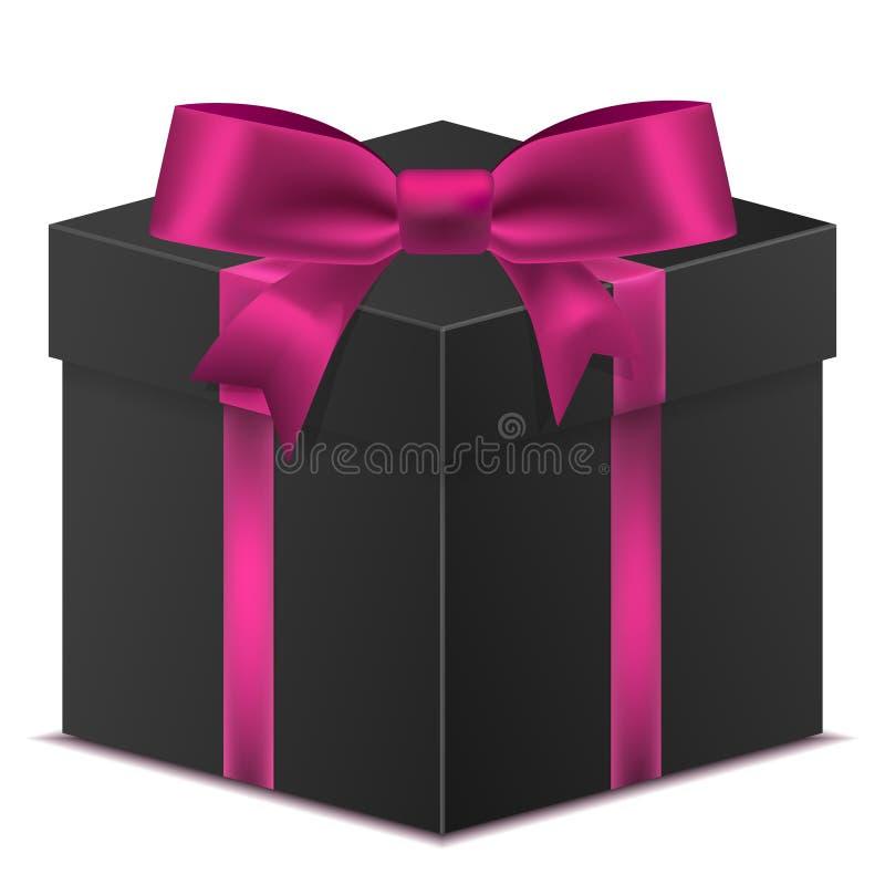 3D noircissent le boîte-cadeau avec un ruban rouge pour la célébration d'anniversaire, ch image stock