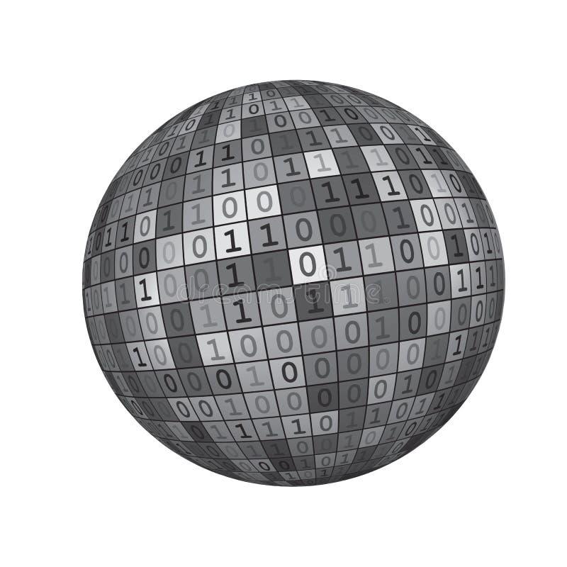3D noirs et blancs rendent le fond Illustration_1 de vecteur de globe de la terre de code binaire de Digital illustration stock