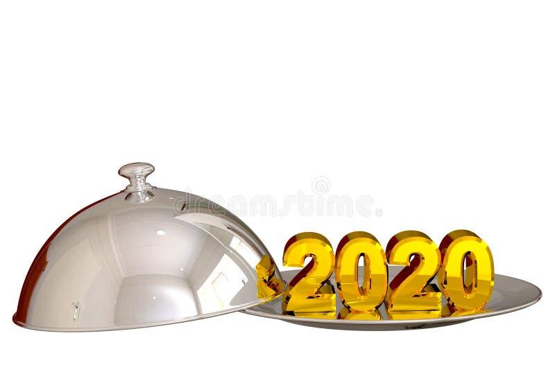 2020 d'or, nouvelle année, servie dans le plateau argenté de cloche sur la célébration et la festivité de célébration illustration de vecteur