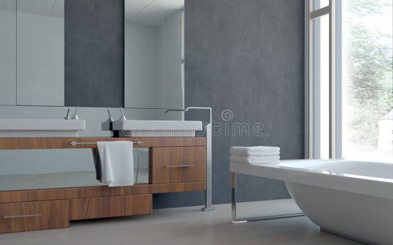 3D Nowożytnej Domowej łazienki Wewnętrzny projekt zdjęcie stock