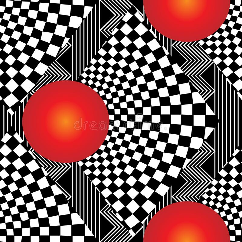 3d nowożytny geometryczny w kratkę bezszwowy wzór ilustracji