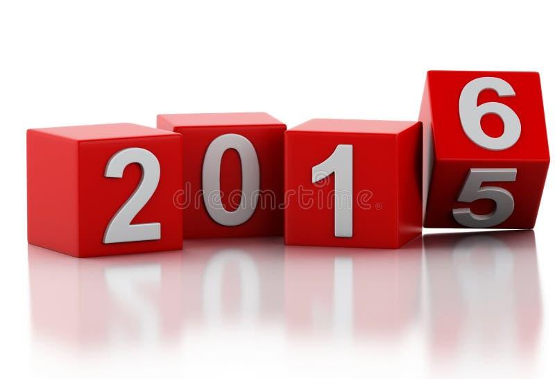3d 2016 nowy rok ilustracji