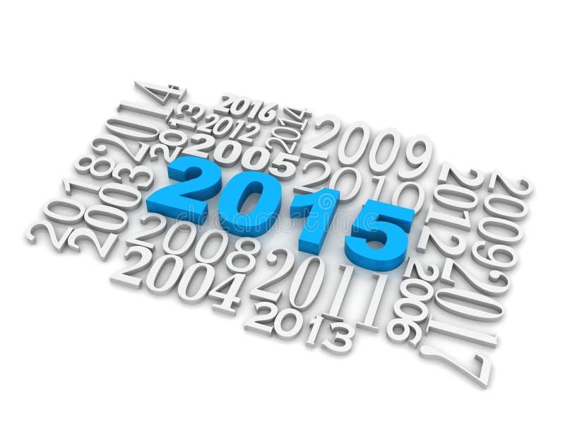 3d 2015 nowy rok sześcian ilustracji
