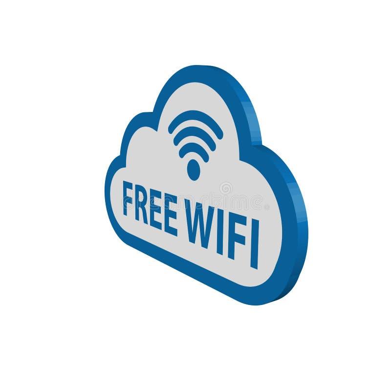 3D nuage - radio gratuite Lan Symbol de Wfi illustration de vecteur