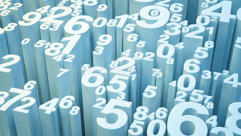3d numbers. Light blue extruded 3d numbers vector illustration