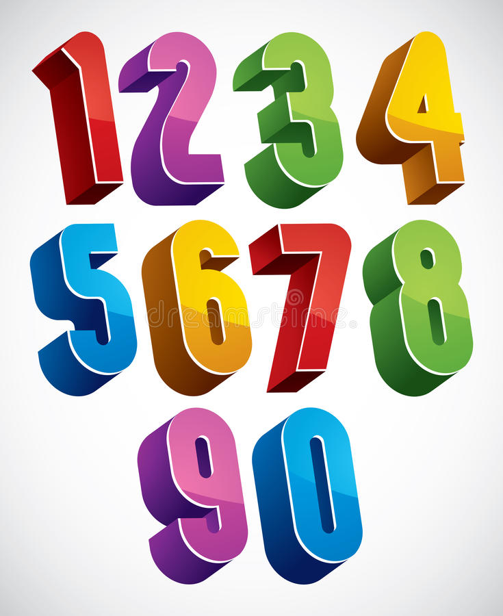 3d numbers set made with round shapes. vector illustration