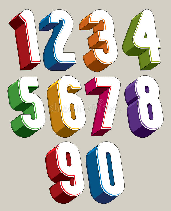3d numbers set made with round shapes. royalty free illustration