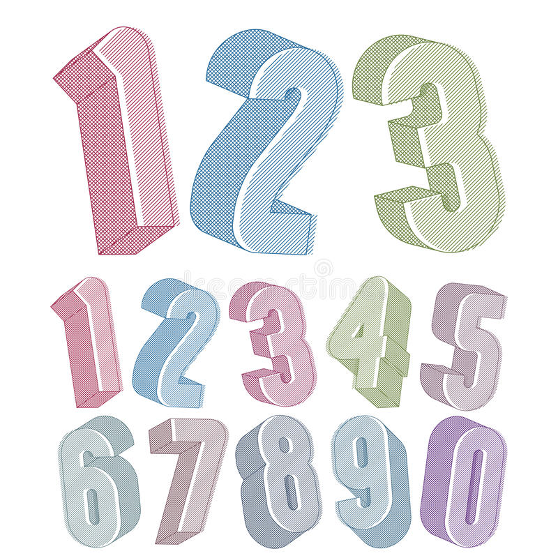 3d numbers set made with round shapes with lines textures. royalty free illustration