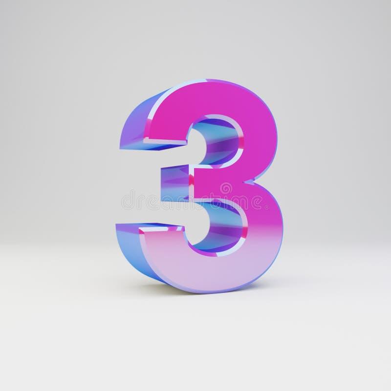 3d nummer 3 Framförd flerfärgad metallstilsort med glansiga reflexioner och skugga som isoleras på vit bakgrund vektor illustrationer