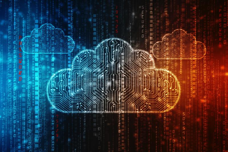 2d nuvem que computa, conceito de computação da rendição da nuvem imagem de stock royalty free