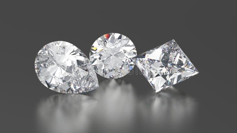 3D o círculo dos diamantes da ilustração três, príncipes, pera com reflete ilustração do vetor