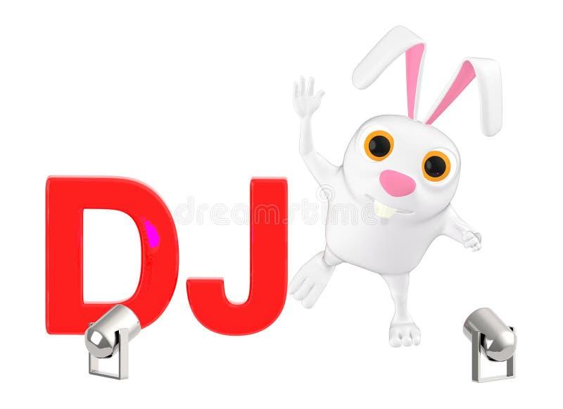 3d o caráter, coelho DJ text, luzes ilustração royalty free