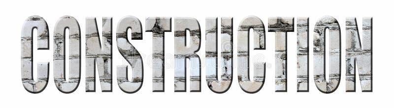 3D o ` da construção do ` da palavra feito do tijolo branco no branco ilustração do vetor