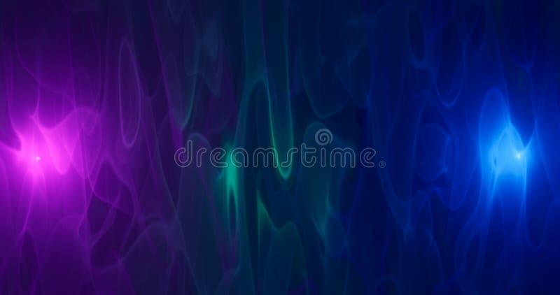 3d O fumo roxo, cor-de-rosa e azul da nuvem no preto isolou o fundo   ilustração do vetor
