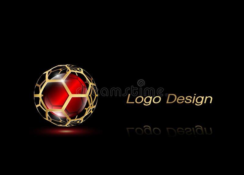 3D o ouro Logo Design, este logotipo é apropriado para a empresa, tecnologias do mundo, meios e agências de publicidade globais Í ilustração do vetor