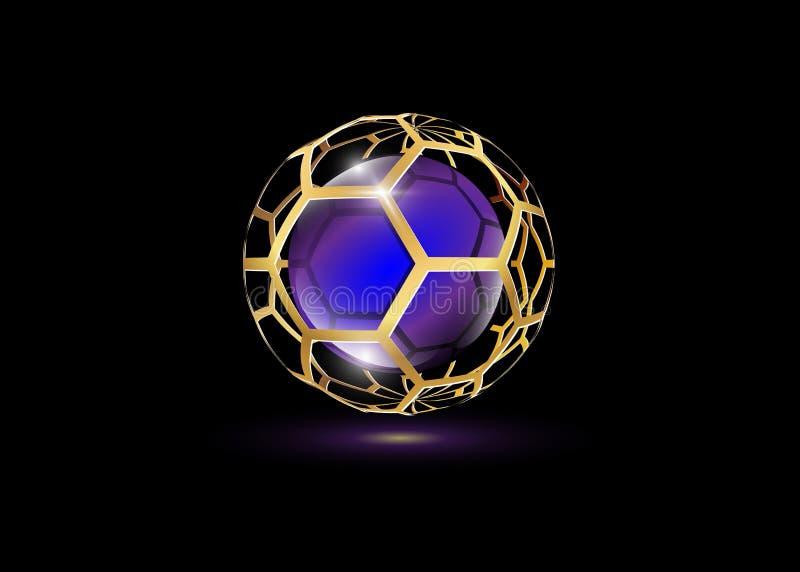 3D o ouro Logo Design, este logotipo é apropriado para a empresa, tecnologias do mundo, meios e agências de publicidade globais Í ilustração stock