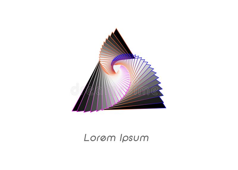 3D o wireframe Logo Design geométrico, este logotipo é apropriado para a empresa, tecnologias do mundo, meios e agências de publi ilustração stock