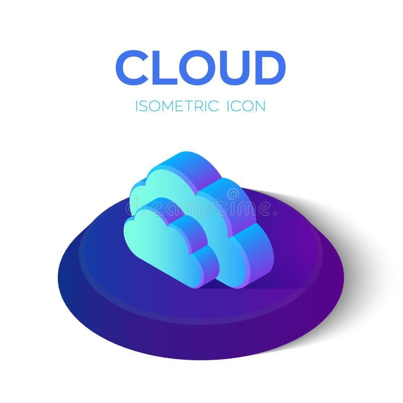 3d obłoczny ikony modela biel Isometric chmura Tworzący Dla wiszącej ozdoby, sieć, wystrój, druków produkty, zastosowanie Doskona ilustracja wektor