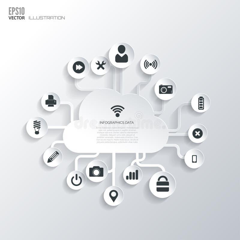 3d obłoczny ikony modela biel Płaski abstrakcjonistyczny tło z sieci ikonami Interfejsów symbole 2010 smau obłoczny target335_0_  ilustracji