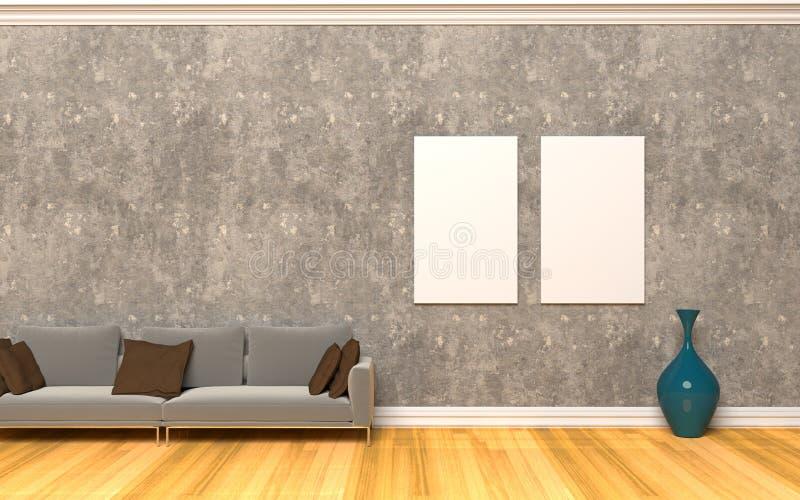 3 d obraz wewnętrzny salon ilustracja wektor