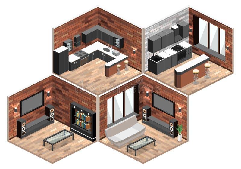 3 d obraz wewnętrzny salon loft mieszkanie z ściana z cegieł ilustracja wektor